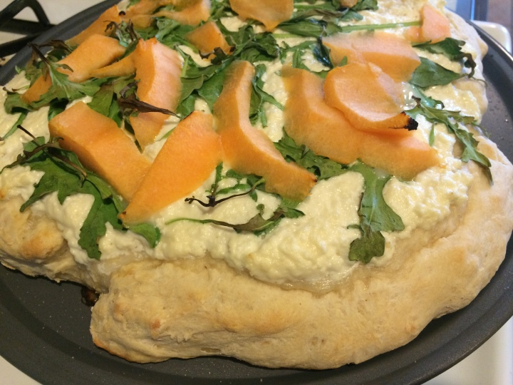 Cantaloupe and Sweet Ricotta Pizza.